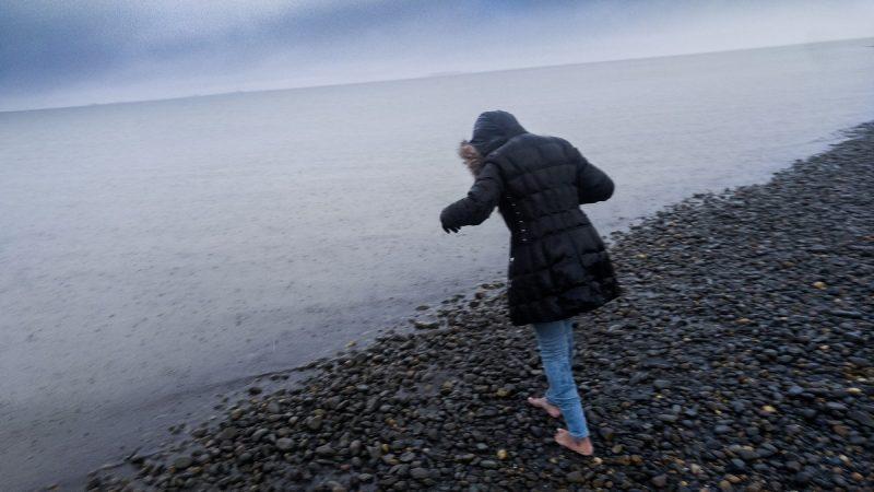 Getting feet wet in the freezing Arctic Ocean | Prudhoe Bay Alaska