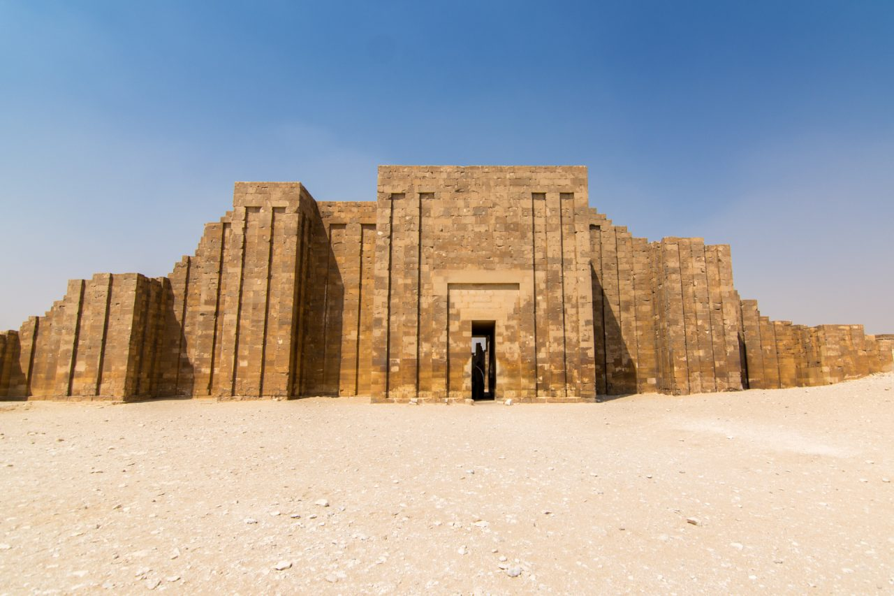 Front entrance of Step Pyramid of Djoser at Saqqara Egypt