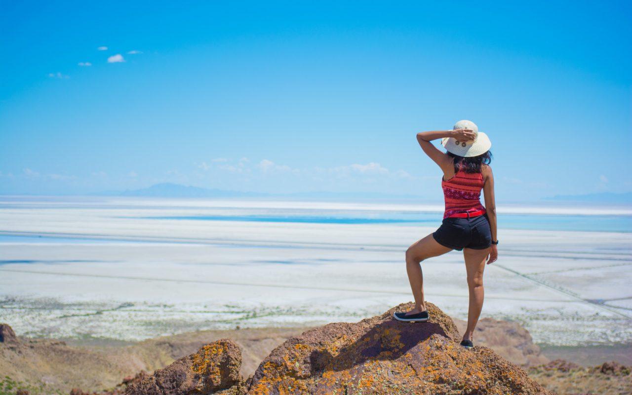 overlooking Bonneville salt flats Utah