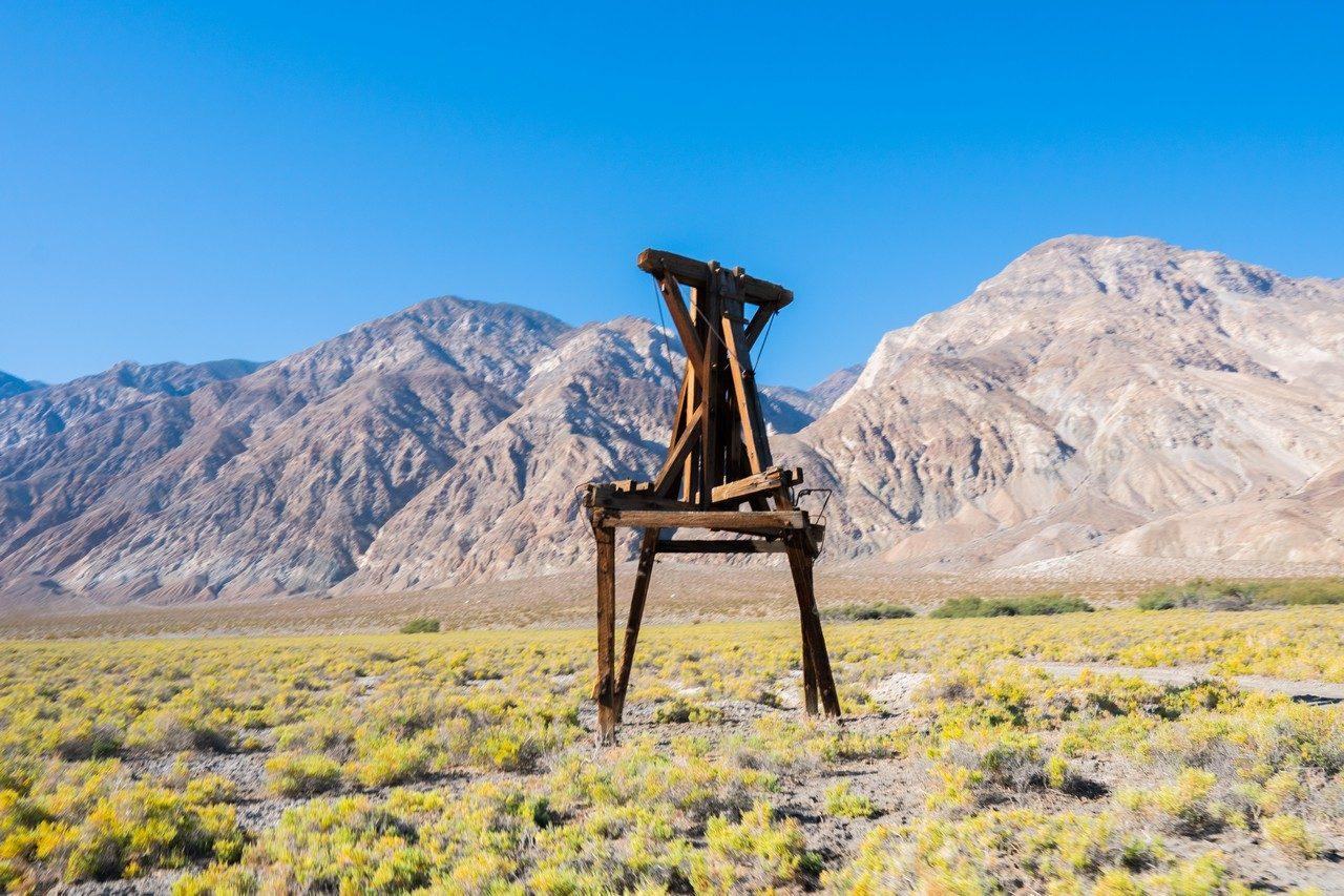 Tramway post in saline valley
