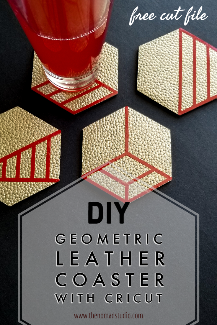 Geometric Leather Coaster with Cricut