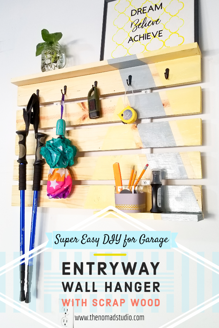 DIY Scrap wood Entryway Wall Hanger for Garage