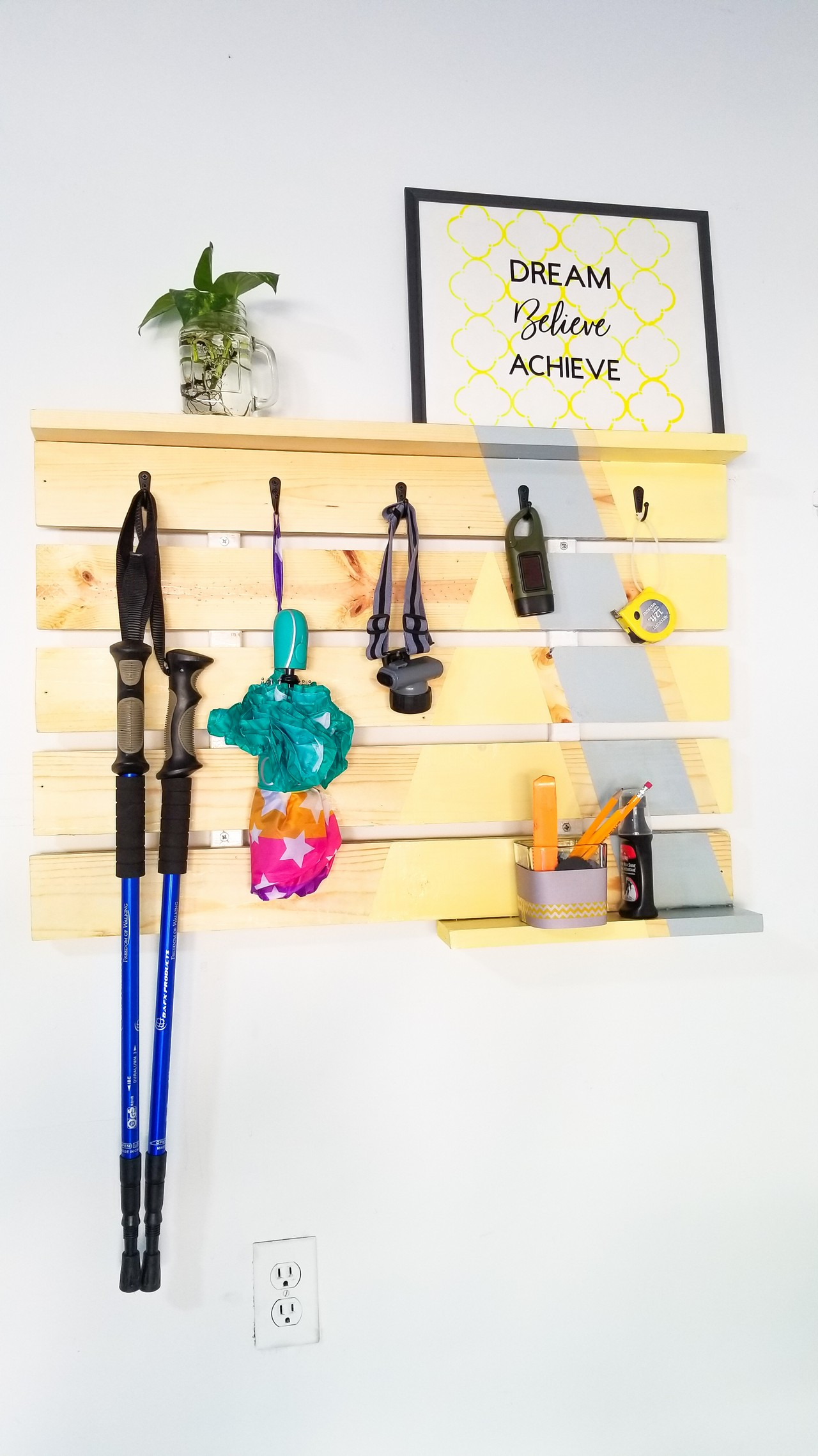 DIY Scrap wood Entryway Wall Hanger for Garage