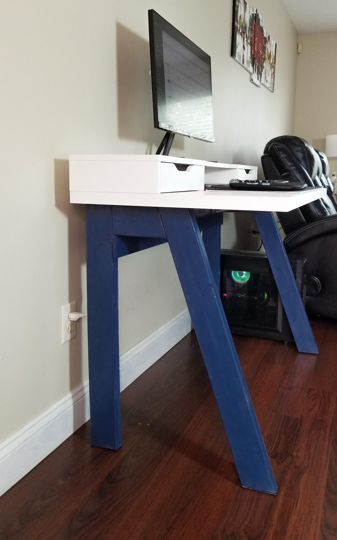 DIY Work Desk with wire organizer
