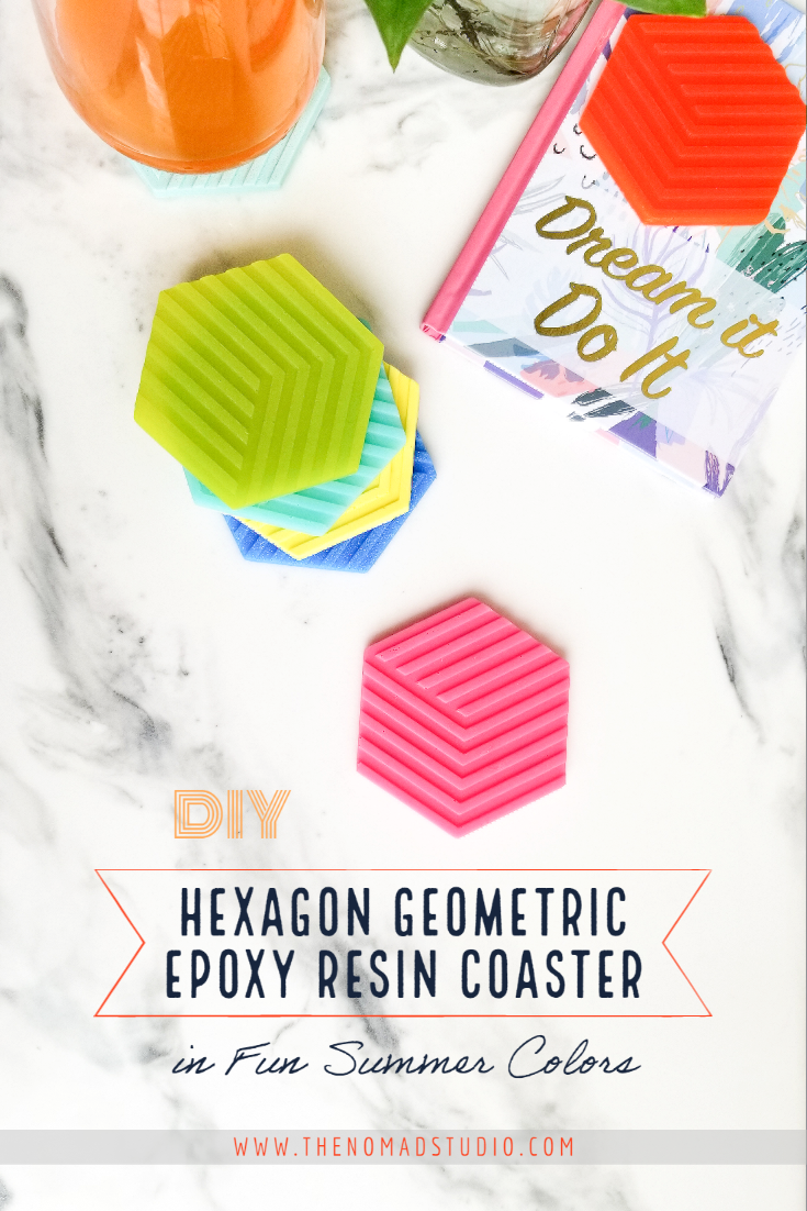 Hexagon Epoxy Resin Coaster in Fun Summer Colors