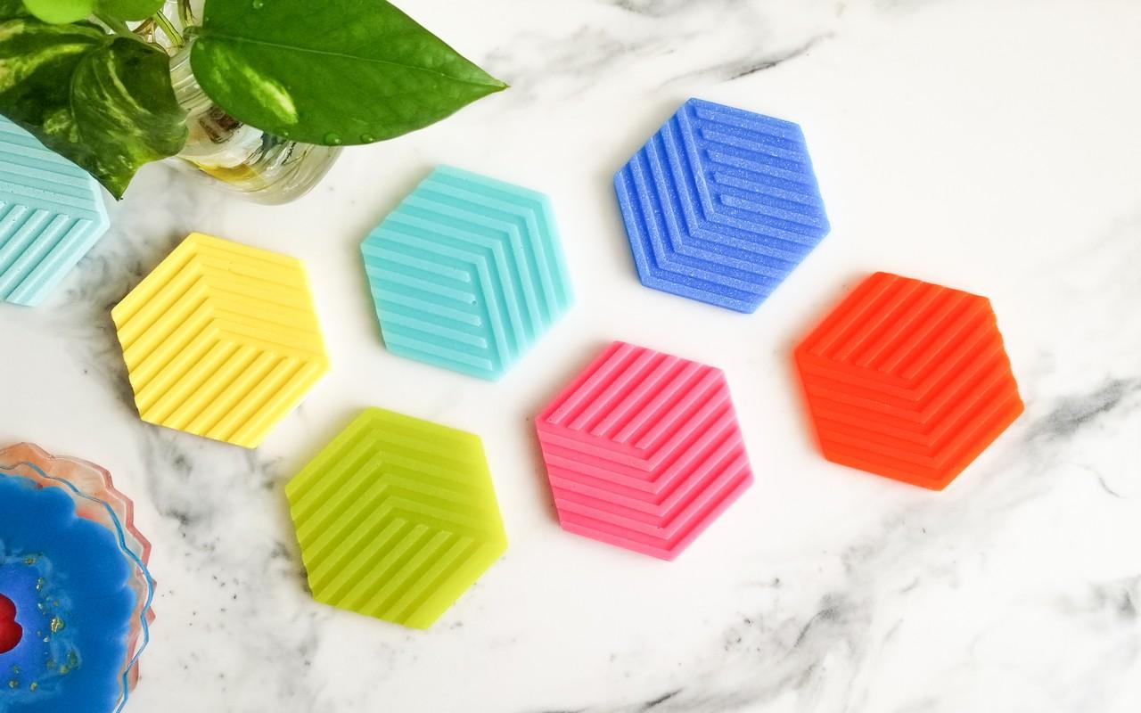 Hexagon Epoxy Resin Coaster in Fun Summer Colors