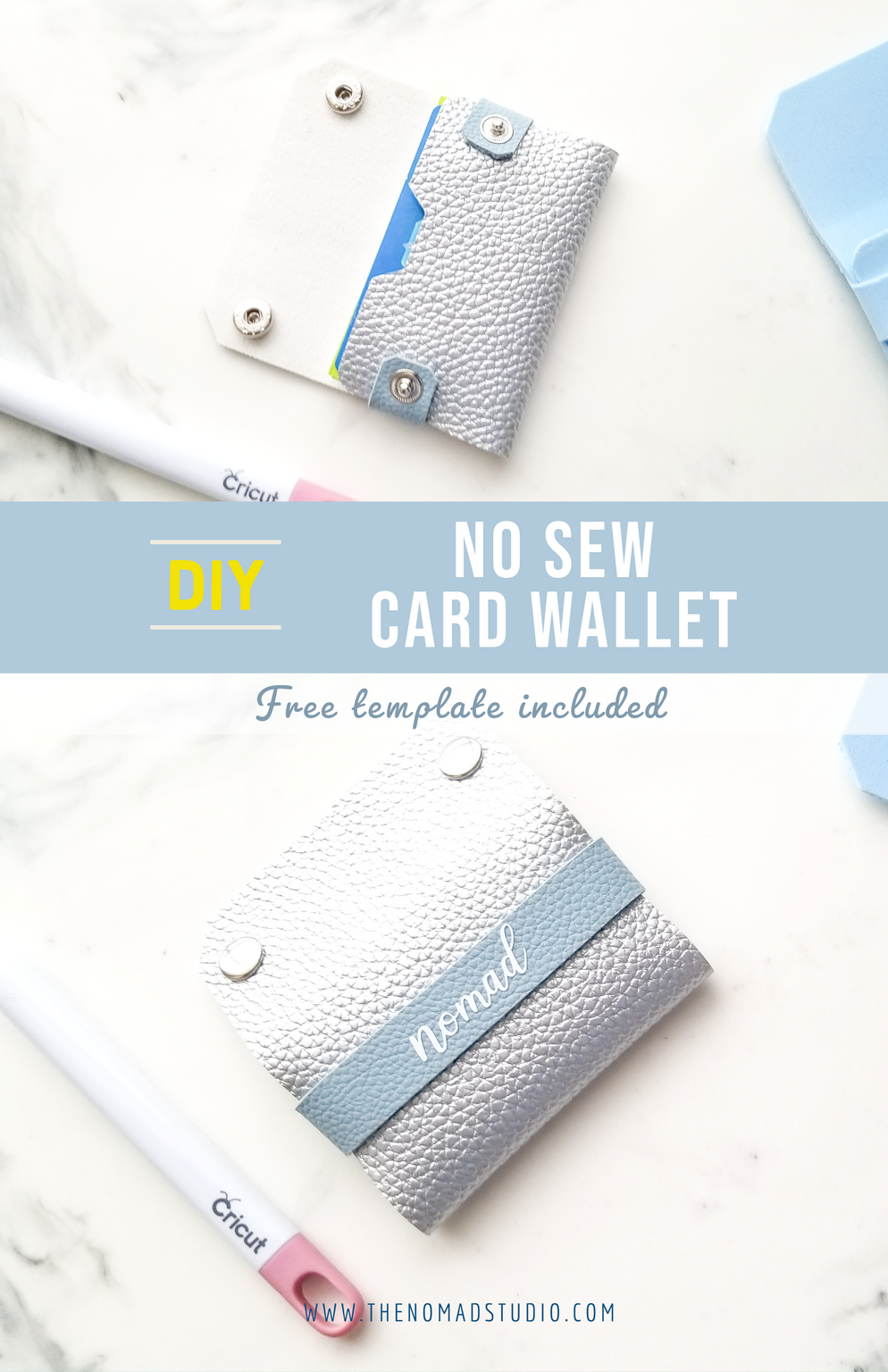 No sew Card Wallet with free template