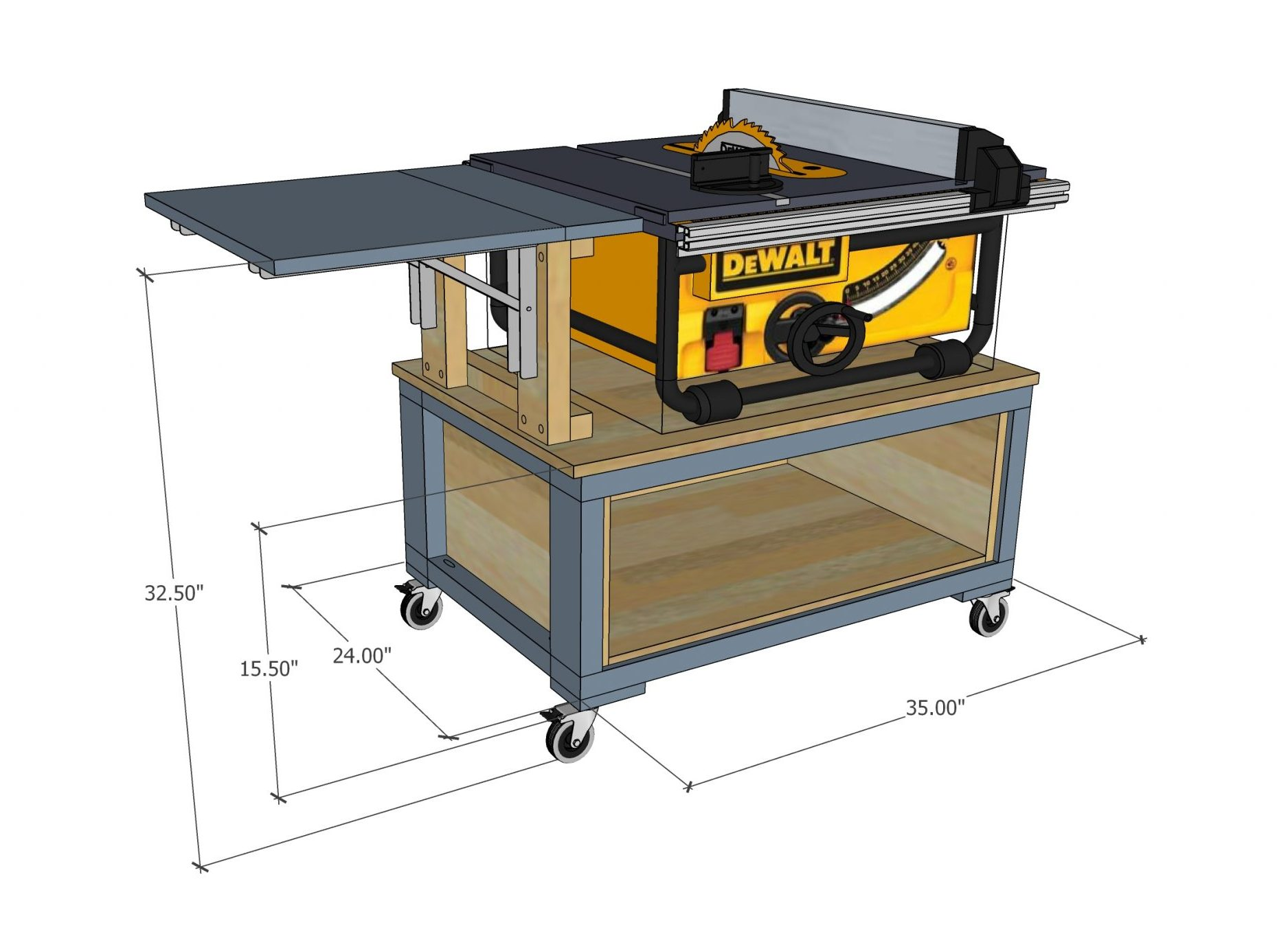 Mobile Table saw cart for DWE7491RS