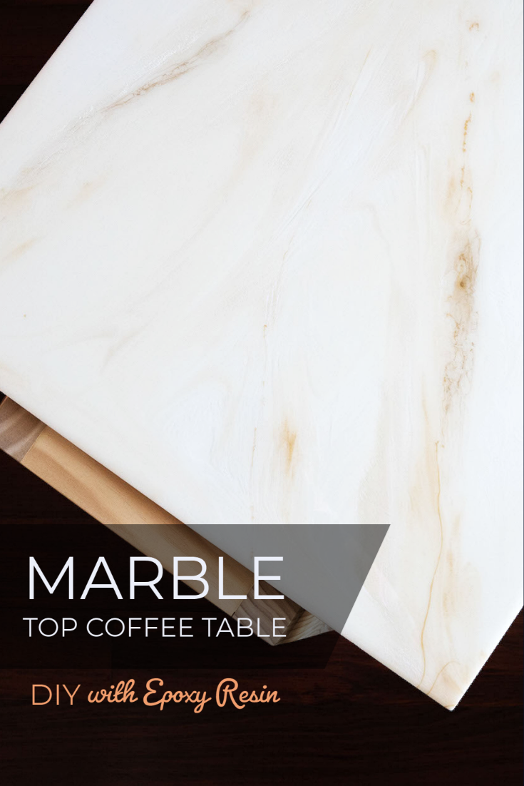 White and Gold Marble Epoxy Coffee table