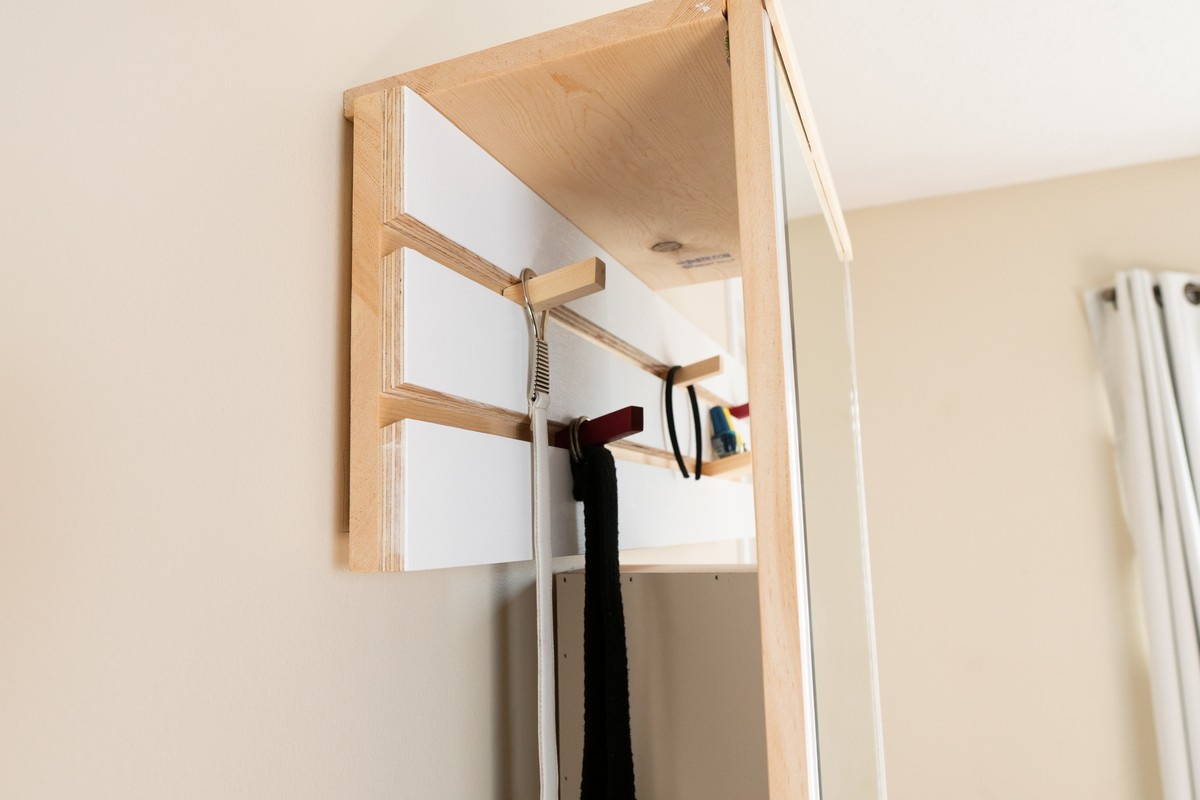 Dressing vanity with full height mirror & light