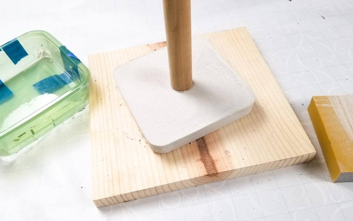 DIY Cement Kitchen Paper towel stand