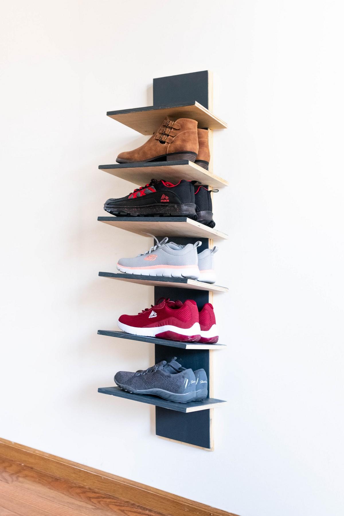 DIY Vertical Shoe Rack with Adjustable Shelves